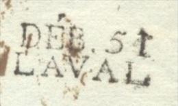 MAYENNE 53 LAVAL DEBOURSE LAC De ST MALO Pour ANGERS Du 02/01/1813 Avec DEB 51 LAVAL Au Verso Et Tad Arrivé ANGERS TTB - Marcophilie (Lettres)