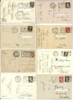 Storia Postale  Lotto  Annulli A Targhetta Su 8 Cartoline - Storia Postale