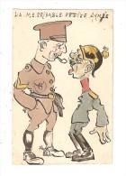 """CPA Militaria  Dessin Originale Fait Main  : La Misérable Petite Armée"""" : Soldat Britannique Dominant Un Allemand - Guerre 1914-18"""