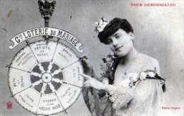 Grande Loterie Du Mariage , Pour Demoiselles, Femme Elegante Tounant La Roue, Edition Bergeret - Femmes