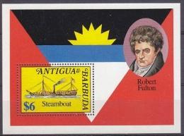 Antigua & Barbuda Steamboat / Robert Fulton M/s ** Mnh (20810) - Antigua En Barbuda (1981-...)