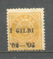 1902 ICELAND 3 A. GILDI OVERPRINT SMALL 3 MICHEL: 23B MH * - Neufs