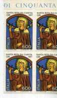 ITALY - ITALIA 1981 QUARTINA SANTA RITA DA CASCIA ** TEMATICA RELIGIONE SANTI - Cristianesimo