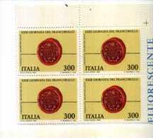 ITALIA 1981, Giornata Del Francobollo, Quartina NUOVA ANGOLO DI FOGLIO - Posta