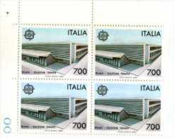 X Italy ITALIA 1987 Quartina Arte E Architettura Roma Stazione Termini TEMATICA STAZIONI TRENI ANGOLO DI FOGLIO - Architettura