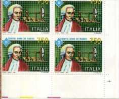 ITALIA - 1991 - CENTENARIO DELLA RADIO - LUIGI GALVANI - QUARTINA ANGOLO DI FOGLIO TEMATICA RADIO  SCIENZA - Fisica