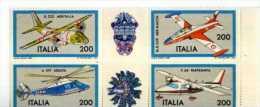 ITALIA ITALY STAMPS 1981 COSTRUZIONI AEREONAUTICHE ITALIANE QUARTINA NUOVA TEMATICA AEREI ELICOTTERI - Aerei