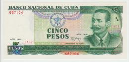 Cuba 5 Pesos 1991  Pick 108 UNC