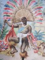 Chromo Image Série Eiernuden & Maccaroni  Dreglocken Serie 698 Exotiche Tanze N° 5 Speertanz Der Fidschi Indiens - Schokolade