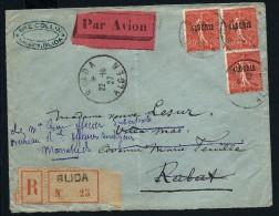 FRANCE-ALGERIE LETTRE DE BLIDA EN RECOMMANDEE POUR RABAT REDIRIGEE A MARRAKECH 1927 AFF TYPE SEMEUSE LOT P3086 - Argelia (1924-1962)