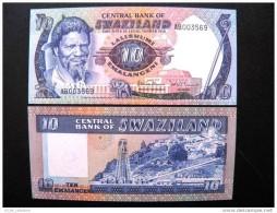 UNC Banknote From Swaziland 10 Emalangeni #10c 1985, Asbestos Mine Elephant $16,5 - Swaziland