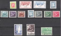 ISLANDE:Collection :timbres Neufs Toutes époques De 1931....1985,poste Aérienne ,taxe       T TS,soit Un Total De 270 TP - Islande
