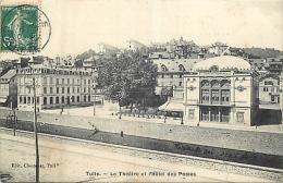 19-35  CPA TULLE Le Théatre Et L'hotel Des Postes Belle Carte - Tulle