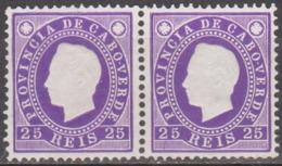 CABO VERDE - 1886,  D. Luis - Fita Direita   25 R.  (Par) Violeta Claro.  D.12 1/2   ** MNH  Afinsa Nº 18 - Cape Verde