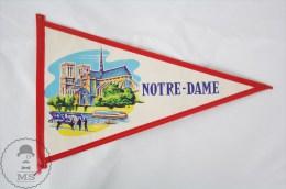 Vintage France, Notre Dame, Paris Collectible Pennant/ Flag - Otros