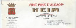 Vins Fins D´Alsace/HEIM Négociant/Wethalten/ Haut Rhin/Aunay Sur Odon/ 1965    FACT74 - Alimentaire