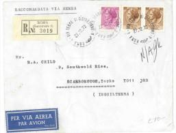 J625) ITALIA LETTERA AEREA RACCOMANDATA PER L'INGHILTERRA DEL 27.12.1973 - 6. 1946-.. Repubblica