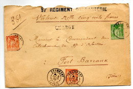 1900 - ENVELOPPE CHARGEE De CHAMBERY (SAVOIE) Avec SAGE N° 94 & 102 Pour Le 97° REGIMENT D'INFANTERIE De FORT BARRAUX - 1877-1920: Période Semi Moderne
