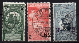 1913 Regno Unità Italia Sovrastampata N. 99-101 Timbrata Used Sassone 25€ - Usati