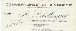 Couverture Et Zinguerie/ H LEBELLENGER/Villedieu-les-Poêles/Manche/ 1941   FACT82 - Petits Métiers