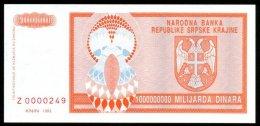CROATIA , SERB KRAINA , KNIN , 1 000 000 000 DINARA 1993 , REPLACMENT , SERIAL Z , P-R17 , UNC - Croatia