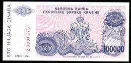 CROATIA , SERB KRAINA , KNIN , 100 000 DINARA 1993 , REPLACMENT , SERIAL Z , P-R22 , UNC - Croatie