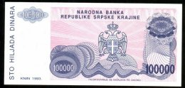 CROATIA , SERB KRAINA , KNIN , 100 000 DINARA 1993 , ERROR W/O SERIAL , P-R22 , UNC - Croatia