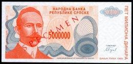 BOSNIA , SERB REPUBLIC , 5 000 000 DINARA 1993 , SPECIMEN , P-153s , UNC - Croatia