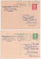 France - 1957 LOT De 2 Entiers Postaux Au Type Marianne De Muller 12f Vert 15f Rouge Entete Pub Matile Bonneterie Cannes - Entiers Postaux