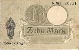BILLETE DE ALEMANIA DE 10 MARK DEL AÑO 1906 (BANKNOTE-BANK NOTE) - [ 3] 1918-1933 : República De Weimar