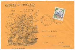 1983 FRIULI PROVINCIA UDINE SPLENDIDA BUSTA ILLUSTRATA COMUNE DI MORUZZO 12.15.83 AFFRANCATA CASTELLI  L.450 ISOLATO - 6. 1946-.. Repubblica