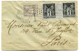 FRANCE LETTRE AFFRANCHIE AVEC UNE PAIRE DU N°83 + UN N°87 OBLITERATION DRAPEAU UNITED STATES POSTAL STATION NOV. 3 - 1900 – Paris (France)