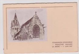 Vieux  Papier :   Menu :  Communion  ,  La  BRIERE  1947 - Menus