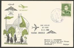 Aérophilatélie - Iran - PAS Persian Air Services - First Regular Flight Teheran-Bruxelles 8-11-60 - Iran