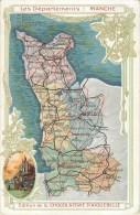 50 - Carte Illustrée Des Départements De La Manche - Cpa édit; Chocolaterie D´Aiguebelle - Voir 2 Scans. - Unclassified