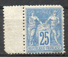 FRANCE - 1877 - Type Sage (Type II - N Sous U) - N° 79 - 25 C. Bleu - (Neuf (**)) - 1876-1898 Sage (Tipo II)