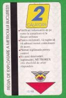 Romania  , Bucuresti  , Metro Ticket  , 1998-1999 - Subway
