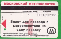 Russia  Russie  , Moscow  , Metro Ticket - Subway