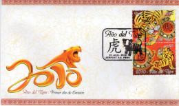 Lote P2010-2F, Peru, 2010,  SPD-FDC, ño Del Tigre, Tiger Chinese Year, Fauna - Pérou