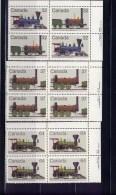 CANADA 1983, # 1000a-1-2, CANADIAN LOCOMOTIVES--1  UR BLOCKS   MNH - Blocks & Sheetlets