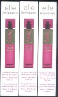 3 X Singapore Perfume Cards Cartes Parfumees --  YSL Elle - Perfume Cards