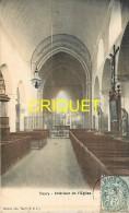 Cpa 28 Toury, Intérieur De L'Eglise, Carte Colorisée Affranchie 1905, Cachet Carré Lettre A - Altri Comuni