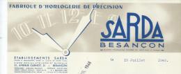Lettre/Horlogerie De Précision/ SARDA/Besançon/DOUBS/ 1946    FACT90 - Petits Métiers