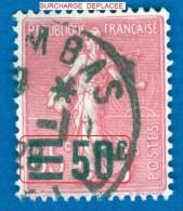 1926 / 27  N° 224  SEMEUSE  OBLITÉRÉ DOS CHARNIÈRES - Abarten Und Kuriositäten
