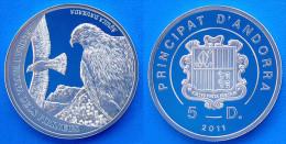 ANDORRA 5 D 2011 ARGENTO PROOF FLORA I FAUNA DELS PIRINEUS AGUILA DAURADA PESO 15,55g TITOLO 0,925 CONSERVAZIONE FONDO S - Andorra