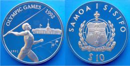 SAMOA 10 $ 1991 ARGENTO PROOF GIAVELLOTTO OLYMPIC GAMES 92 PESO 31,47g TITOLO 0,925 CONSERVAZIONE FONDO SPECCHIO - Samoa