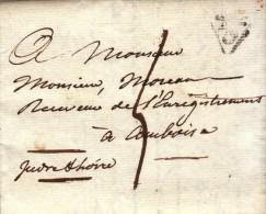 Marque Postale De Paris - P Dans Un Triangle Ouvert Noir Du 19 Avril 1820 - FRANCO DE PORT - Marcophilie (Lettres)