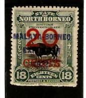 NORTH BORNEO 1922 20c On 18c SG 269 MOUNTED MINT Cat £29 - North Borneo (...-1963)