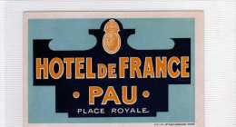 ETIQUETTE HOTEL DE FRANCE PAU PLACE ROYALE VINTAGE LUGGAGE HOTEL LABEL - Hotel Labels