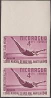 Nicaragua 1948 Y&T 738. Paire Verticale, Non Dentelée, Sur Papier Gommé. Tirage Probable : 25 Paires. Essai. Plongeon - High Diving